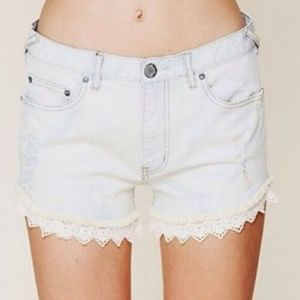 Free People Striped Crochet Hem Jean Shorts